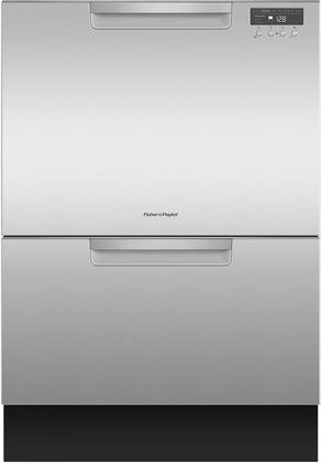 Fisher Paykel DD24DCTX9 24' Tall Double Drawer DishDrawer Dishwasher with 14 Place Settings 2 Cutlery Baskets Child Lock SmartDrive TM Technology and Recessed Handle in Stainless