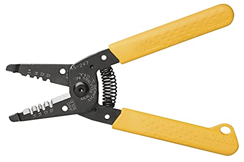 IDEAL Electrical 45-247 Premium T-14 NM T-Stripper - 12/14 AWG, Wire Stripper with Looping Holes, Plier Nose, Spring Loaded Automatic Opening
