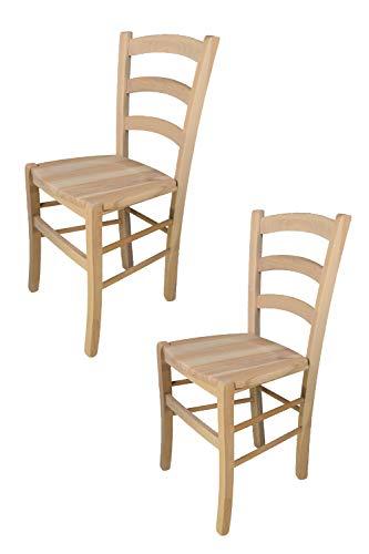 Tommychairs - Set 2 sillas Venezia para cocina y comedor, estructura en madera de haya lijada, no tratada, 100% natural y asiento en madera