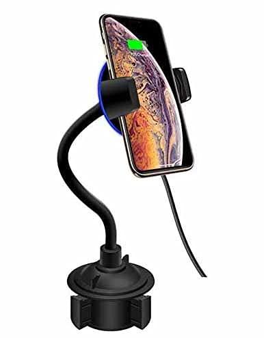 MRTYU-UY Cargador de coche inalámbrico, 10 W de carga rápida, soporte de coche con cuello de cisne, para iPhone Xs Max X XR 11 11 Pro 11 Pro Max Samsung Galaxy