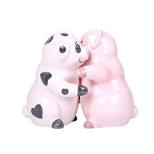 Pacific Giftware Hugging Pigs Magnetic Ceramic Salt and Pepper Shakers Set
