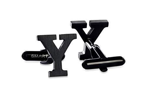 SMARTEON® Manschettenknöpfe für Herren | Premium Buchstaben A-Z | Silber & Schwarz aus hochwertigem Edelstahl in mattem Design | Elegante Cufflinks in einem edlen Geschenk-Set (Y - schwarz)