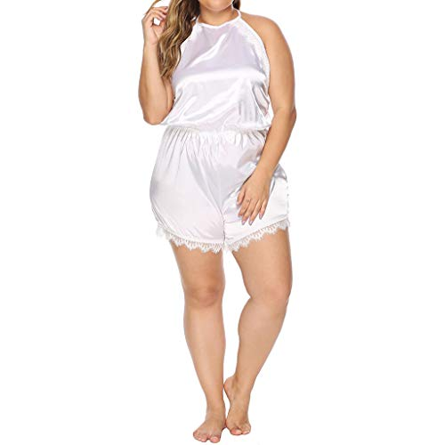 Schlafanzug Damen Nachthemd Kurz Pyjama Sexy Nachtwäsche Erotik Reizwäsche Set Sexy Einfarbig Große Größe Dessous Siamese Hose(Weiß,XXXL)