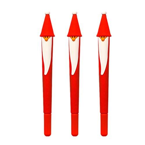NUOBESTY Weihnachtsstifte – 3 Stück Weihnachtsmann Kugelschreiber Schreibstifte für Weihnachten, Urlaub, Party, Geschenk, 0,5 mm schwarze Tinte