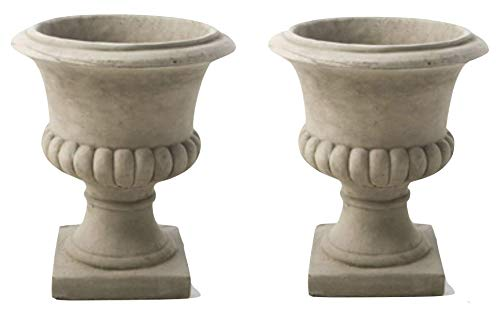 Discount Garden Statues Pair of Medium Size Heavy Solid Stone Cast Urn Vases by DGS VAS8 66KGS