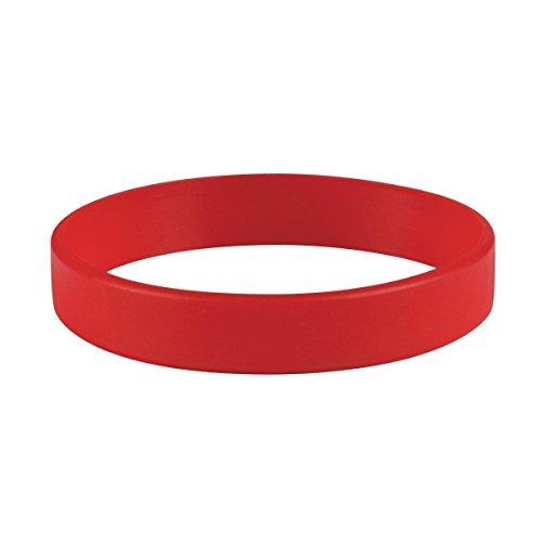 Topelec Juego de 5 pulseras de goma de silicona en blanco, color rojo