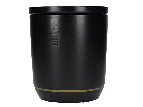 La Cafetière Edited Contemporain Boîte à sucre/café/thé en céramique avec couvercle Noir mat/doré 8 x 8 x 12 cm
