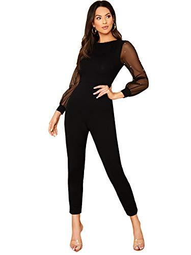 DIDK Damen Jumpsuit Elegant Overall Rundhals Langarm Playsuit Hosenanzug mit Perlen Einfarbig Karottenschnitt Hohe Taille Jumpsuits Schwarz L