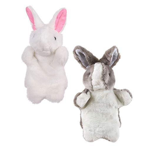 NUOBESTY 2 Piezas de Marionetas de Mano de Conejo Encantadoras Muñecas de Conejo de Mano Gris Blanca Marionetas de Mano Creativas Muñeca de Mano Interesante Juego de rol de La Imaginación