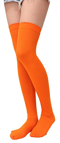 Over Knee Long Stockings Thigh High Tights Socks Opaque Stockings Party Solid Halloween Costume Cosplay Orange Knee-High Socks For Women Girls