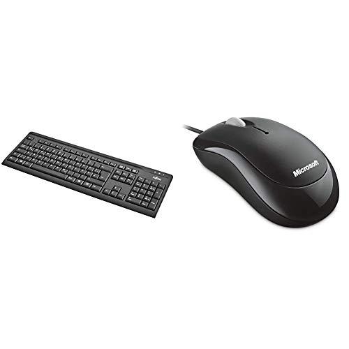 FUJITSU KB410 Tastatur USB Schwarz deutsches Layout 1,8m USB Leitung, Einfarbig & Microsoft Basic Optical Mouse (Maus, schwarz, kabelgebunden, für Rechts- und Linkshänder geeignet)