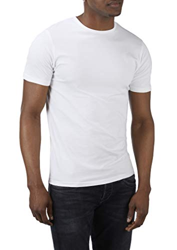 Charles Wilson Herren 4er Packung Elastan-T-Shirts mit Rundhalsausschnitt (Large, White Type 62)