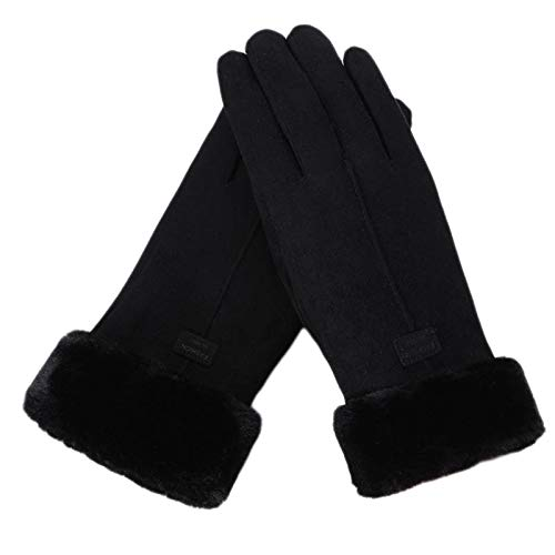 MYhose Winter Warmer Women Winter Touch Screen Gloves Thermal Plush Lined Windproof Driving Mittens Black