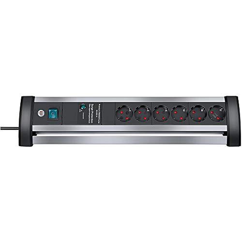 Brennenstuhl Alu-Office-Line, Steckdosenleiste 6-fach mit Überspannungsschutz aus Alu für den Schreibtisch (Schalter und 3m Kabel) silber/schwarz
