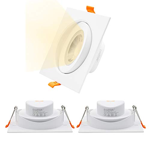 Lamparas Plafones Focos Downlight LED Empotrables Techo Cuadrados LED 12W Orientables Grande Luz Calida 3000K Agujero de Techo Diámetro 120-130MM Lot de 3 de Enuotek