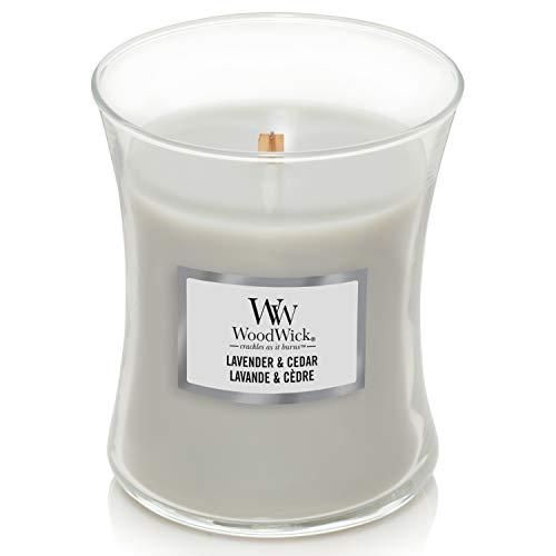 WoodWick mittelgroße Duftkerze im Sanduhrglas mit knisterndem Docht | Lavender & Cedar | Brenndauer bis zu 60Stunden