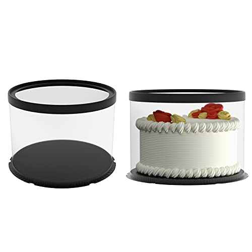 Black 6pcs Clear Cake Box 10 inch Baking Box for Birthday Anniversary Transparent Gift Box