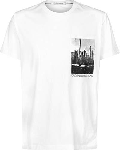 Calvin Klein NY Photoprint Pocket tee Camisa, White, M para Hombre