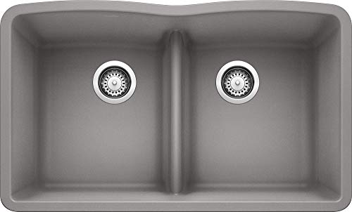 BLANCO, Metallic Gray 442077 DIAMOND SILGRANIT 50/50 Double Bowl Undermount Kitchen Sink with Low Divide