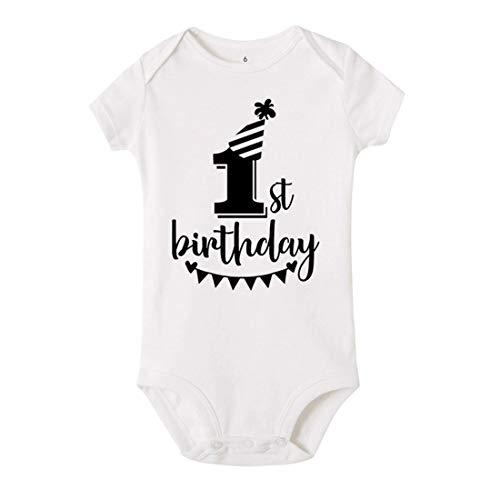 Mornyray T-Shirts d'été en Coton pour bébé 1er Anniversaire (Color : SRPWH, Size : 12M)