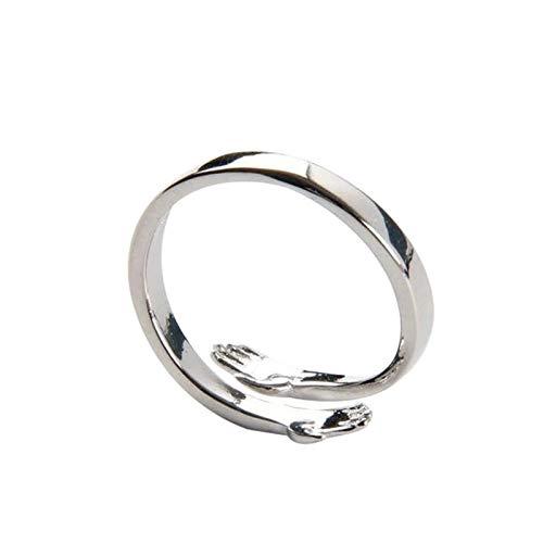lefeindgdi Anillo de pareja de abrazo de plata de ley 925, anillo ajustable para parejas, mujeres y niñas, 2 unidades