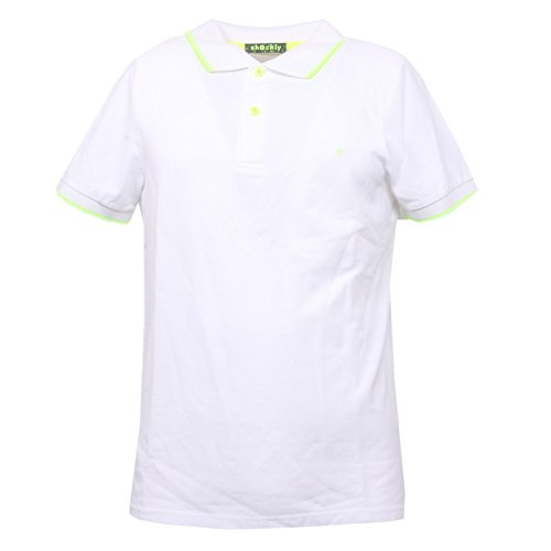 SHOCKLY B3413 Polo Uomo Bianco/Giallo Fluo Manica Corta t-Shirt Polo Men [S]
