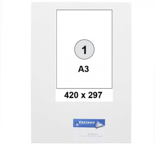 DIN A3 Etiketten - 420 x 297 mm - 100 Stück (100 A3 Blätter) - 420x297 weiße Universal Etikett selbstklebend