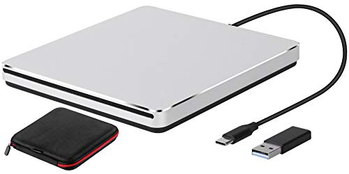 External DVD Drive USB 3.0/Type-C Slim Slot-in CD/DVD+/-RW Burner Player USB C Superdrive for MacBook Pro Air Laptop Mac iMac Windows10 PC Desktop(Silver)