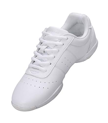 Lnafan Women's Girls' Lace-Up Gym Sport Aerobics Cheerleading Training Dance Shoes White Size 6...