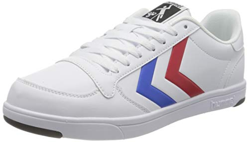 hummel Unisex-Adult Stadil Light Sneaker, White/Blue/RED,45 EU