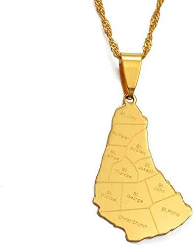 Aluyouqi Co.,ltd Collar Collar Mapa de la Isla de Barbados con Nombre de la Ciudad Collares Pendientes Mapas de Color Dorado Regalos de joyería