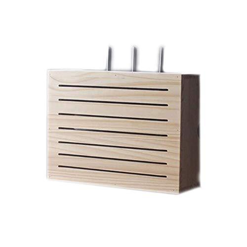 Zhenwo Caja De Almacenamiento De Cable De Carga Inalámbrica Estantes De Madera Router WiFi Estantes De Almacenamiento Armario De Almacenamiento En Rack Top Box Caja De Cable Muebles,A