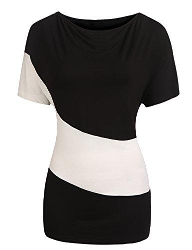 Parabler Damen Sommer Kurzarmshirt T-Shirt Bluse Tunika Asymmetrisch Locker Oberteil Tops mit Schlitz (1-Schwarz, EU 42(Herstellergröße:XL))