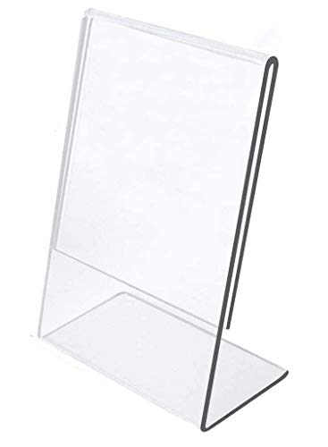 Slant Back 8.5 x 11 Acrylic Sign Holder,DYCacrlic 6 Pack 8.5x11 Clear Table Menu Display Stand Plexi Letter Sign Holder Ad Frame for Flyer Document Paper Store Hotel Restaurant Menu Signs Promotion Ad