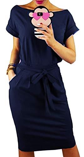 Longwu Women's Elegant Short Sleeve Wear to Work Casual Pencil Dress with Belt Dark Blue-M