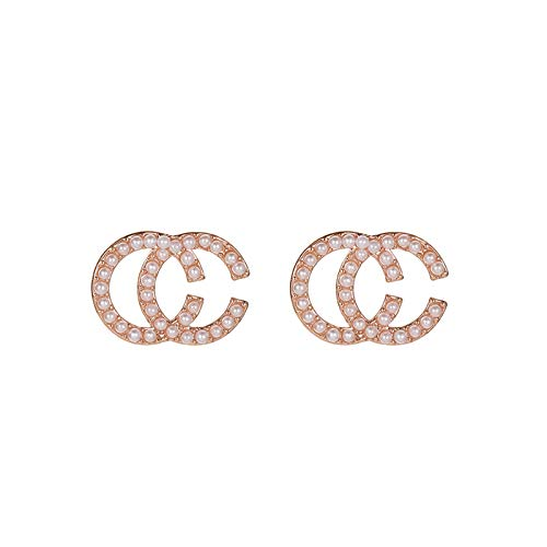 QY-Youth 925 Sterling Silver Letter Double C Earrings for Women with 5A Cubic Zirconia, Diameter 15mm Fashion Jewelry