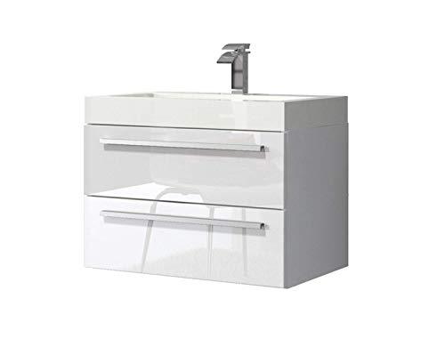 Badezimmer Badmöbel Marseille 60 cm Hochglanz weiß - Unterschrank Schrank Waschbecken Waschtisch