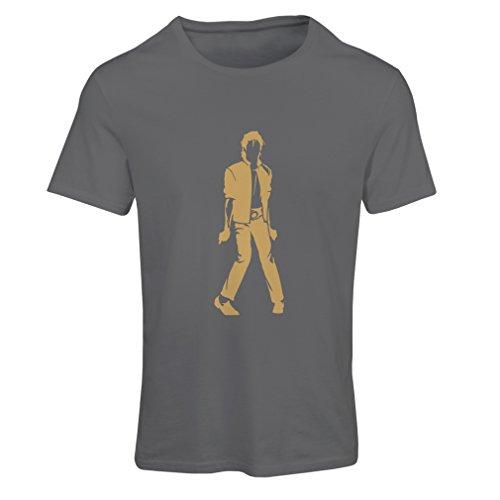 lepni.me Camiseta Mujer Me Encanta M J - Rey del Pop, 80s, 90s Músicamente Camisa, Ropa de Fiesta (Small Grafito Oro)