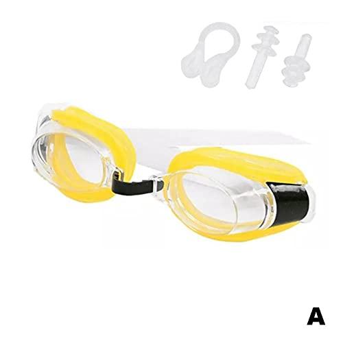 XUEXIU Silicona Natación Gafas Impermeable Anti Fog Goggles Set Protección Vista Amplia Gafas Ajustables con Punta De La Nariz Enchufe (Color : A)