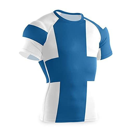 Magnesis Finland Flag - Maglietta a compressione da uomo, a maniche corte, con strato di base Multi L