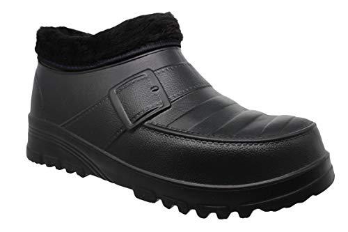 buyAzzo Botas de goma para hombre, forro cálido, zapatillas de estar por casa forradas, zuecos impermeables, zapatos de goma, zapatos de otoño e invierno BA8103, tallas 42-45, color Negro, talla 43 EU