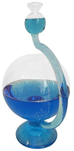 Station météo à peu près avec l'échelle de temps à l'extérieur rempli avec de l'eau distillée bleu pour faire du verre décoratif taille mètre Goethe barometre, temps l'indicateur, hauteur environ 11,5 x 20 cm Oberstdorfer Glashütte