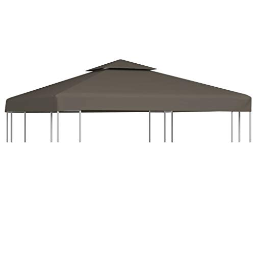 vidaXL 2-Tier Gazebo Top Cover 310g/m² 3x3m Taupe Roof Replacement Tent Canopy