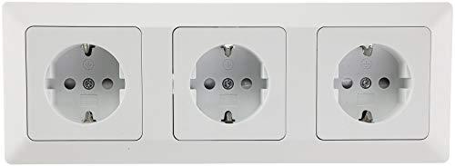 Milos 3-fach Steckdose Unterputz Weiß 3x Steckdosen mit erhöhtem Berührungsschutz Klemm Anschluss Matt-Weiß