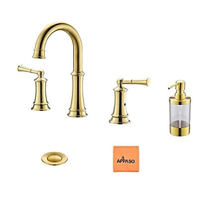 3 Hole Bathroom Sink Faucet Oil Rubbed Bronze, 2-handle Widespread Bath Lavatory Vessel Faucet with Pop Up Drain Assembly and Soap Dispenser, APPASO