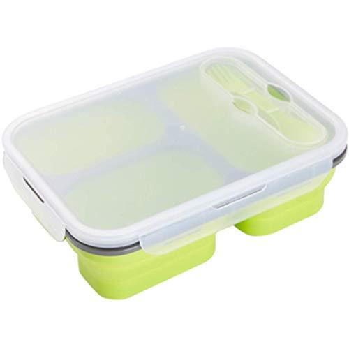 YAeele Bento Box Pliant déjeuner Coffre Silicone Pique-Nique Four à Micro-Ondes Chauffage extérieur télescopique Arts de la Table Déjeuner (Couleur: Vert, Taille: 24 * 17,5 * 7cm)