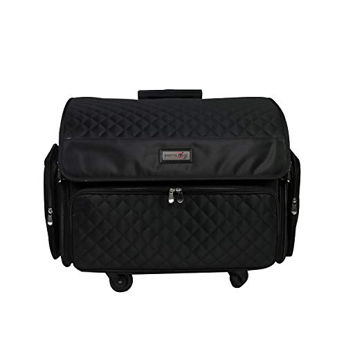 Everything Mary 4 Wheels Collapsible Deluxe Sewing Machine Storage Case, Black - Rolling Trolley Carrying Bag for Brother, Singer Black Quilted