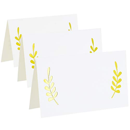 Best Paper Greetings 100-Count Gold Foil Table Place Cards - Laurel Leaf Tent Cards for Wedding, Bridal Shower, and Dinner Parties, 2 x 3.5 Inches
