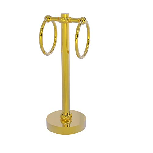 Allied Brass 953T-PB Vanity Top 2 Ring Twisted Accents Guest Towel Holder, Polished Brass