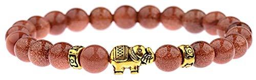 KEKEYANG Pulsera de Piedra Mujer, 7 Chakra Piedras Naturales Perlas Golden Sandstone Bangle Elephant Animal Jewelry Pulseras Elástico Yoga Pulseras Ilimitado Charm Difusor Mujeres Pulsera de Piedra